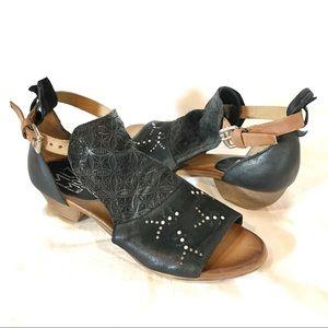 Miz Mooz NYC Carey Studded Open Peep Toe Sandal 40